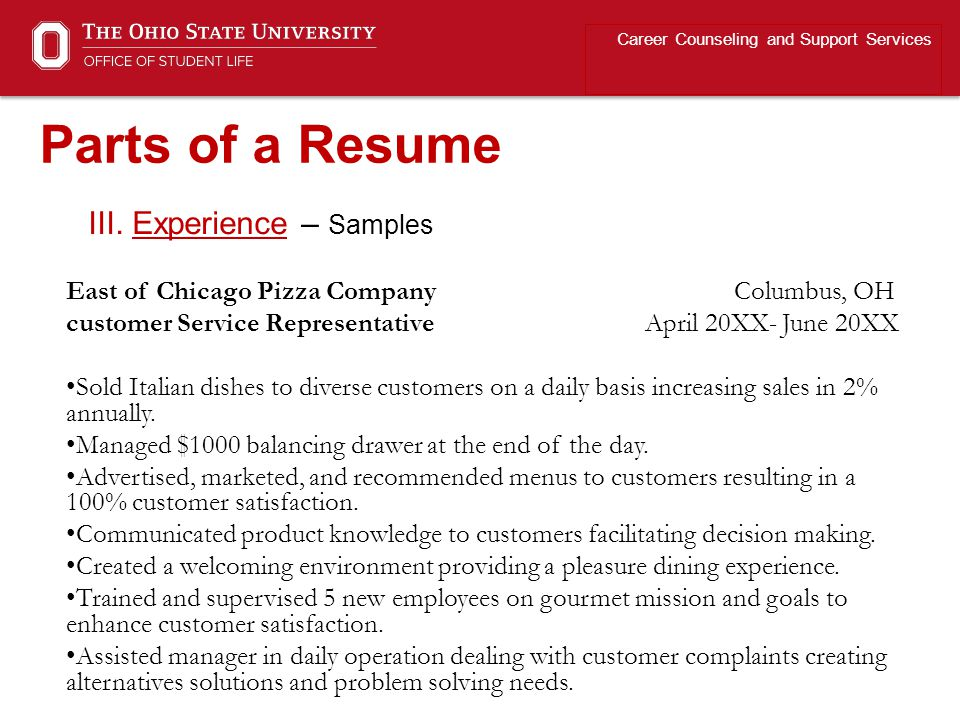 Parts of a Resume III. Experience – Samples