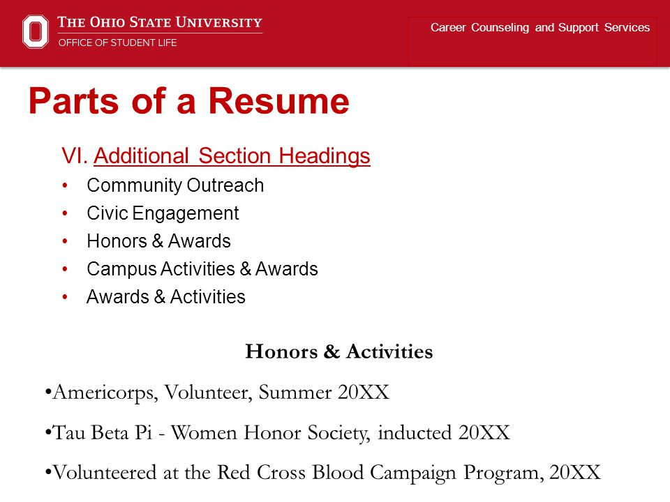 Parts of a Resume VI. Additional Section Headings Honors & Activities