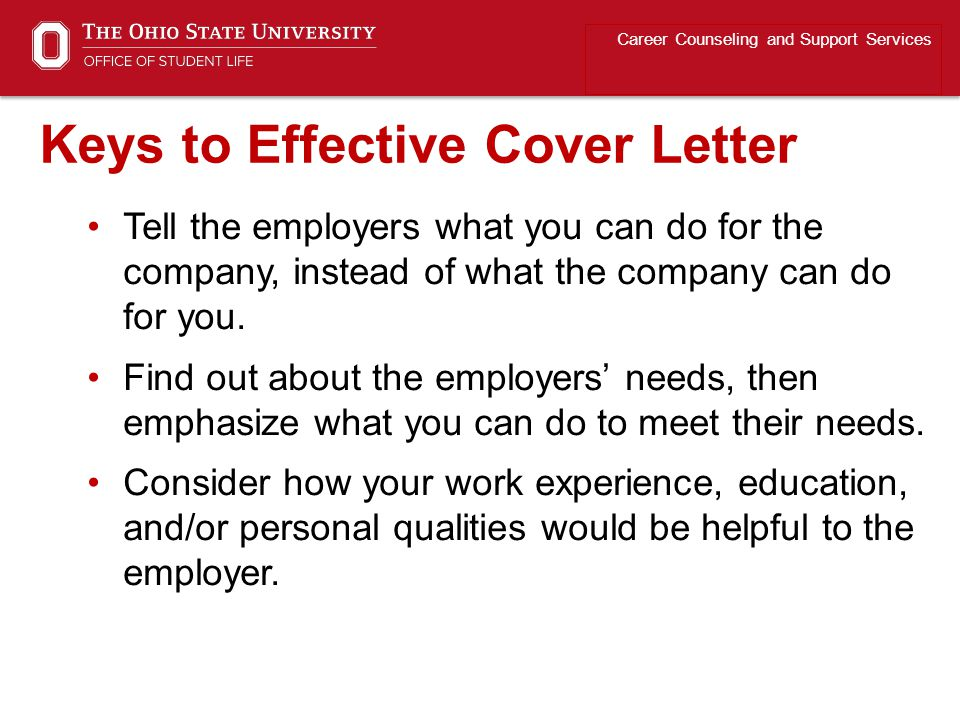Keys to Effective Cover Letter