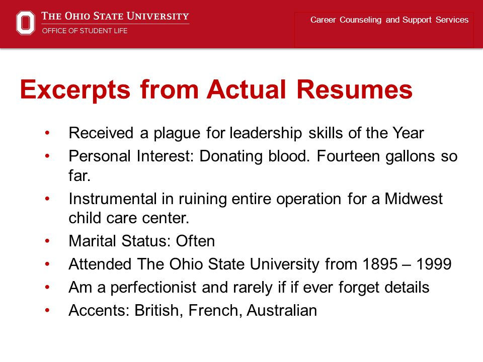 Excerpts from Actual Resumes