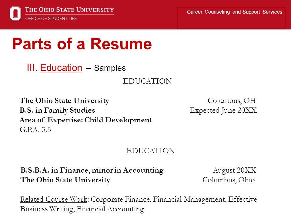 ohio state resume