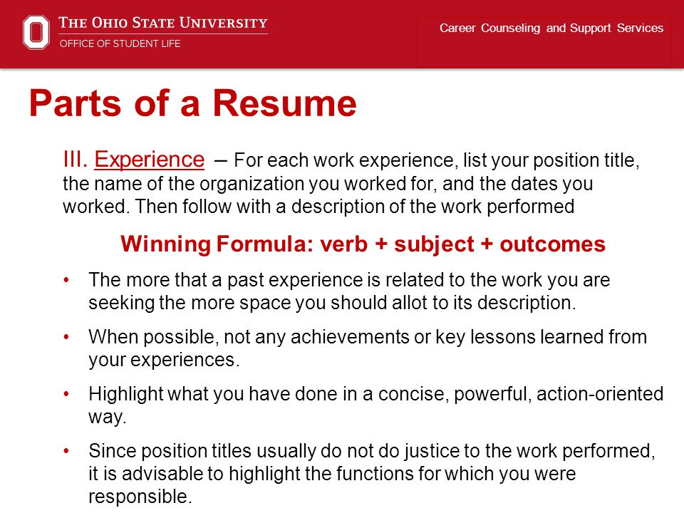 Winning Formula: verb + subject + outcomes