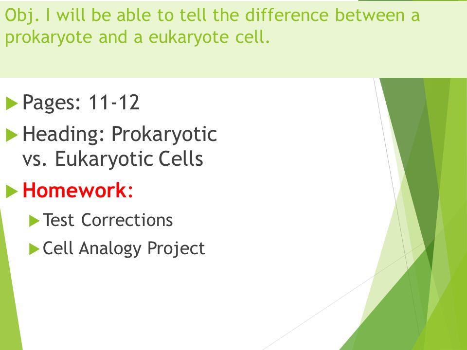 Heading: Prokaryotic vs. Eukaryotic Cells Homework: