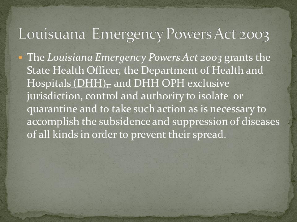 Louisuana Emergency Powers Act 2003