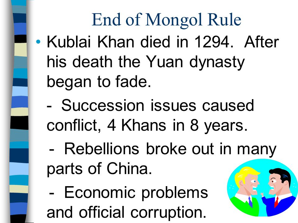 End of Mongol Rule Kublai Khan died in 1294. After his death the Yuan dynasty began to fade.