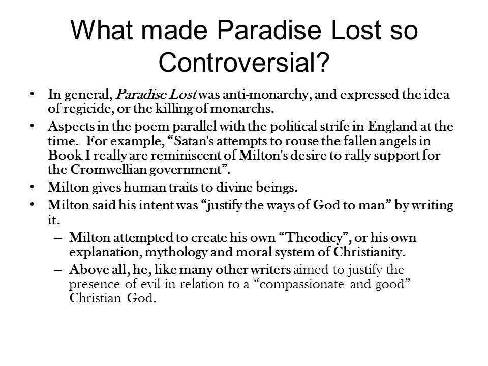 What made Paradise Lost so Controversial