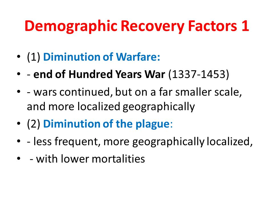 Demographic Recovery Factors 1