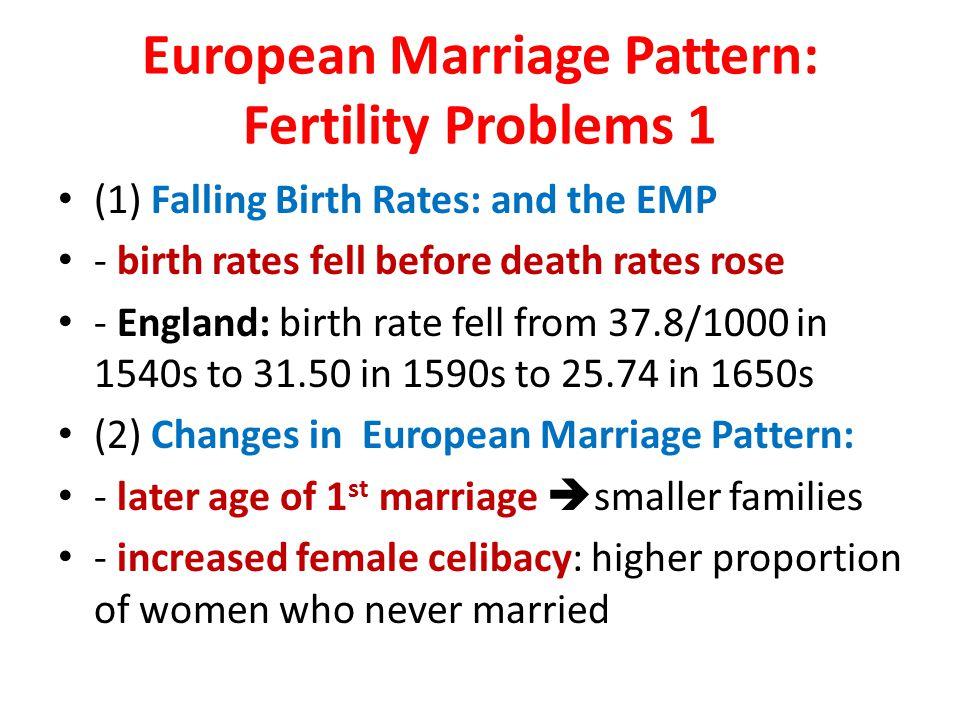 European Marriage Pattern: Fertility Problems 1