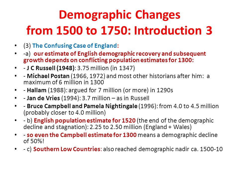 Demographic Changes from 1500 to 1750: Introduction 3