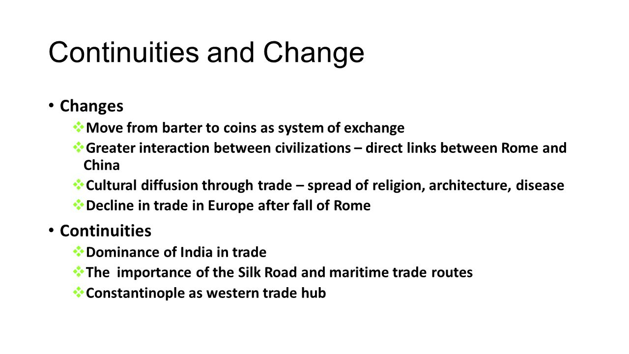 changes and continuities on silk road Submit any pending changes before refreshing this page hide  silk road (historical trade route) history what are some continuities of the silk road update.
