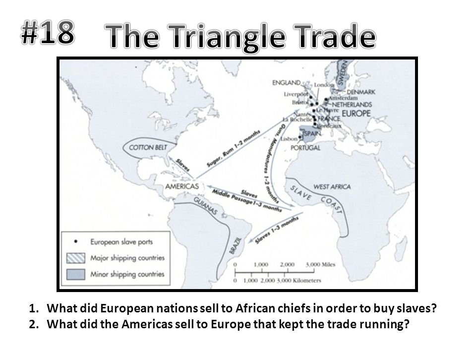 #18 The Triangle Trade. What did European nations sell to African chiefs in order to buy slaves
