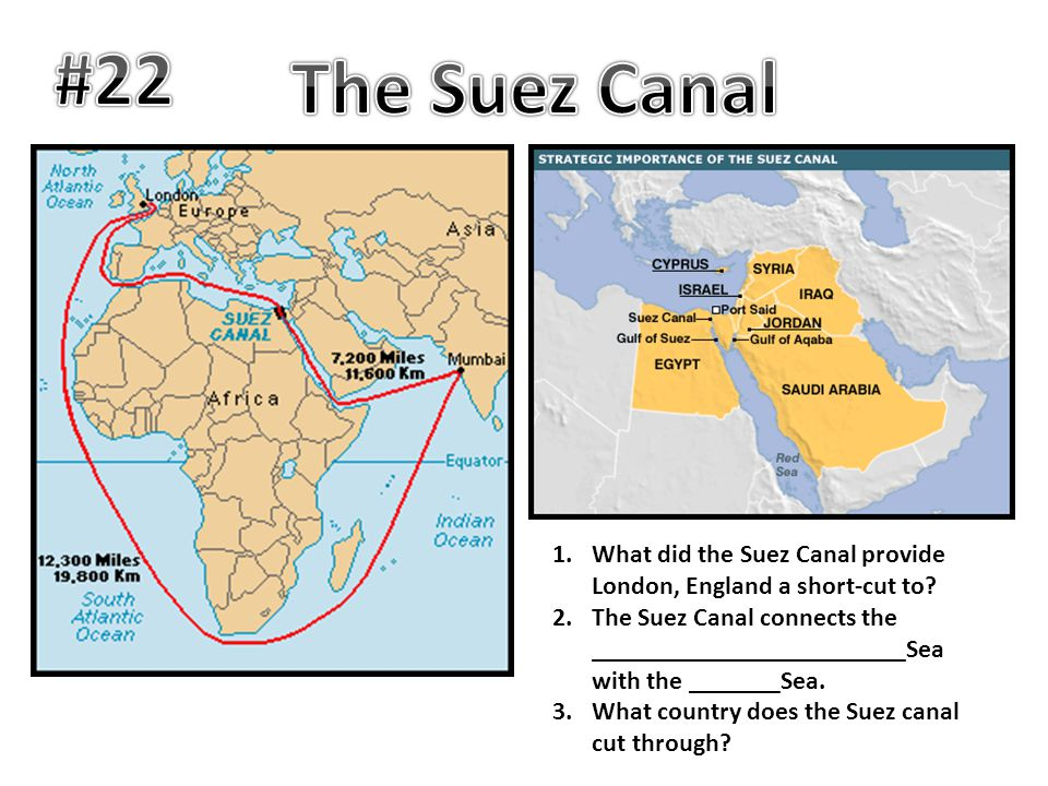 #22 The Suez Canal. What did the Suez Canal provide London, England a short-cut to