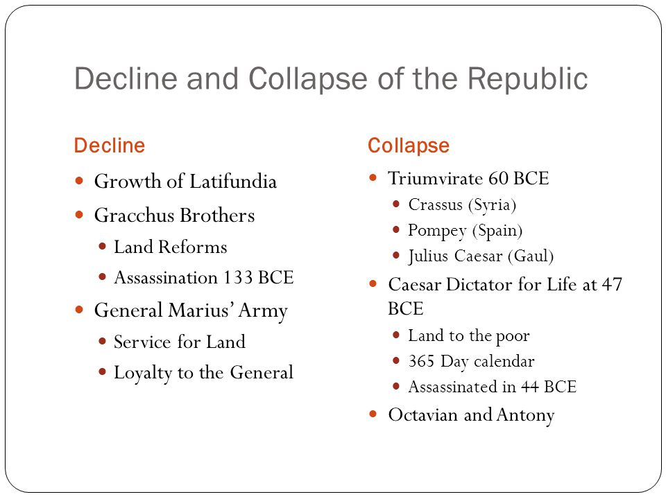 Decline and Collapse of the Republic