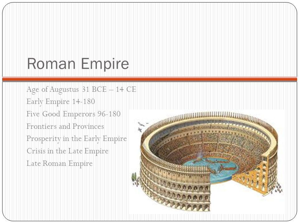 Roman Empire Age of Augustus 31 BCE – 14 CE Early Empire 14-180