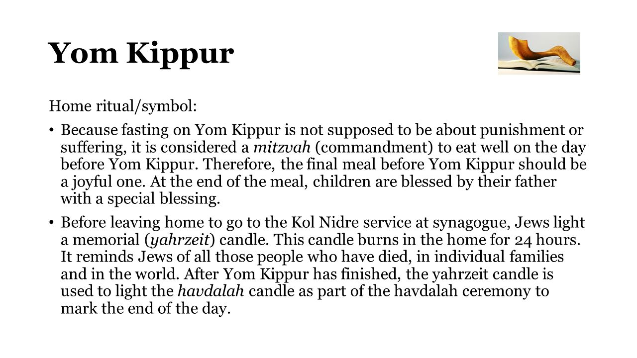 Yom Kippur Home ritual/symbol: