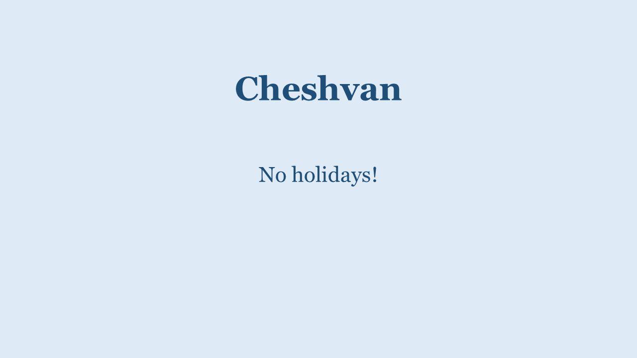 Cheshvan No holidays!