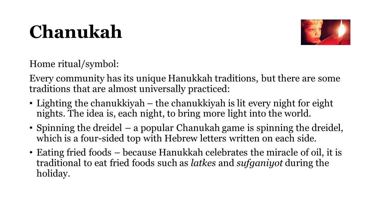 Chanukah Home ritual/symbol: