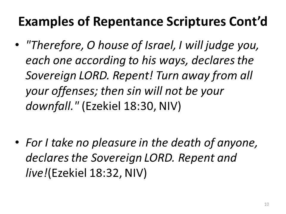 Examples of Repentance Scriptures Cont'd