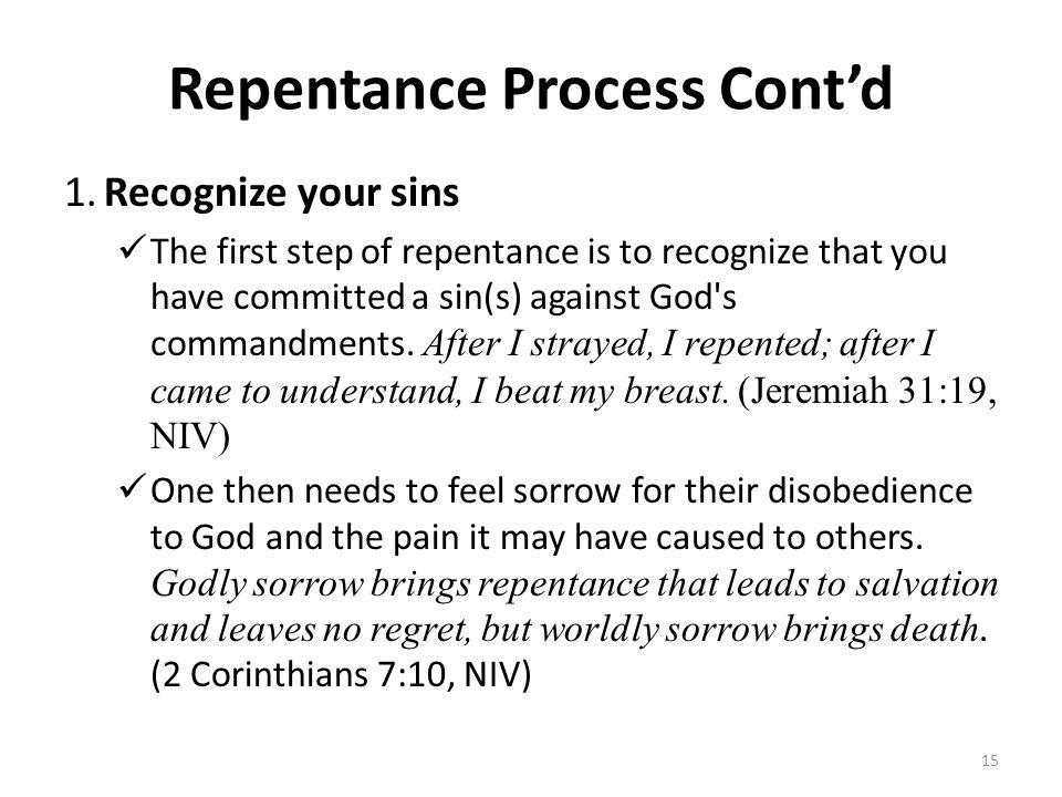 Repentance Process Cont'd