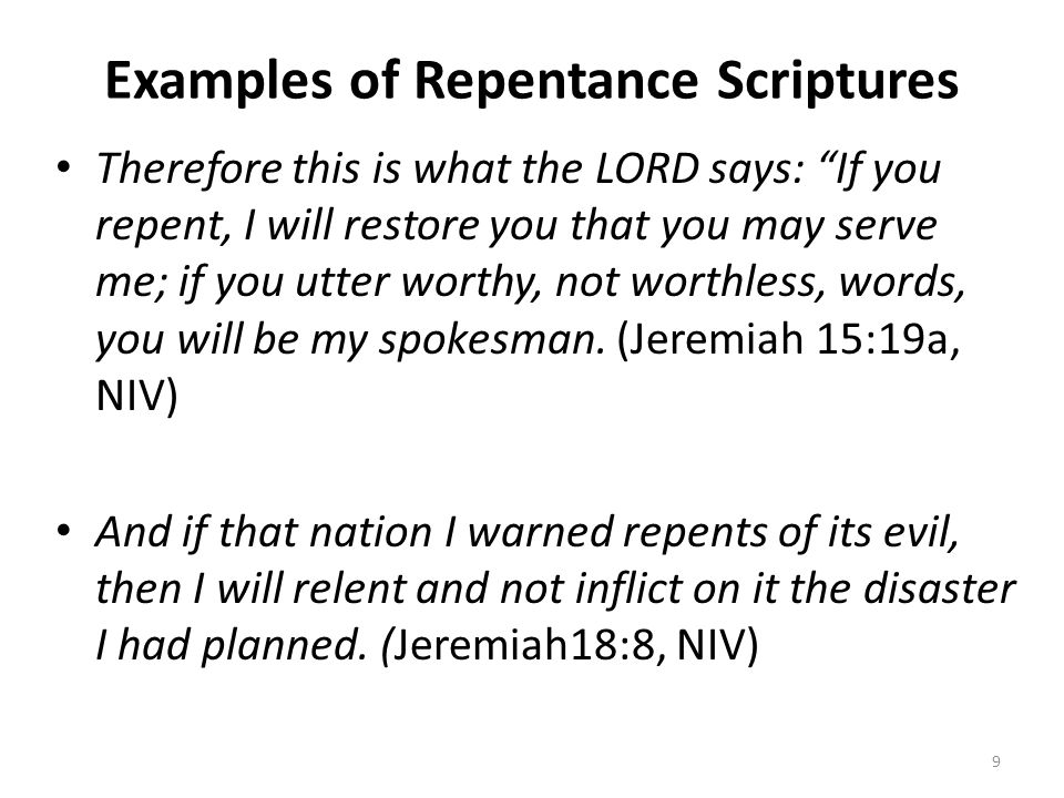 Examples of Repentance Scriptures