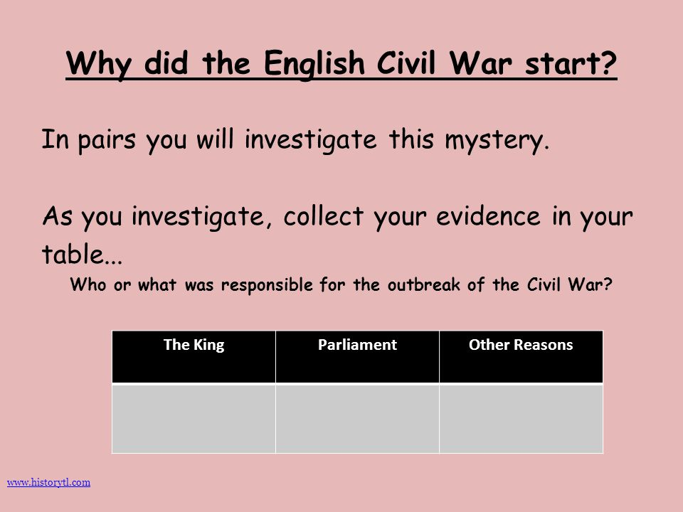 Why did the English Civil War start