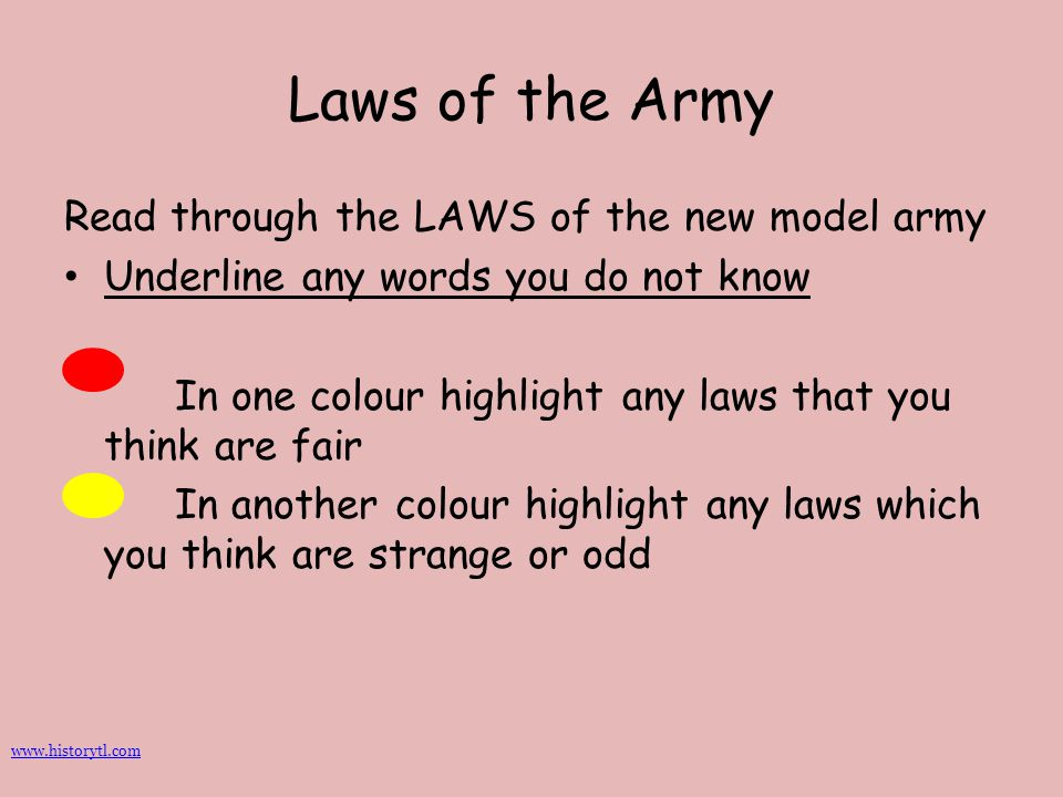 Laws of the Army Read through the LAWS of the new model army