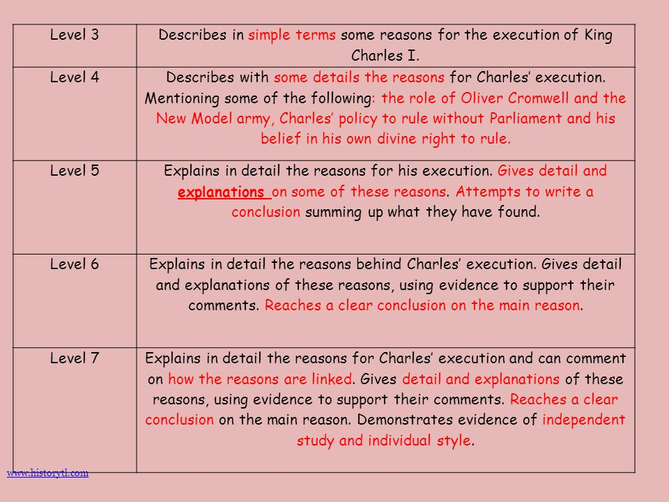 Level 3 Describes in simple terms some reasons for the execution of King Charles I. Level 4.