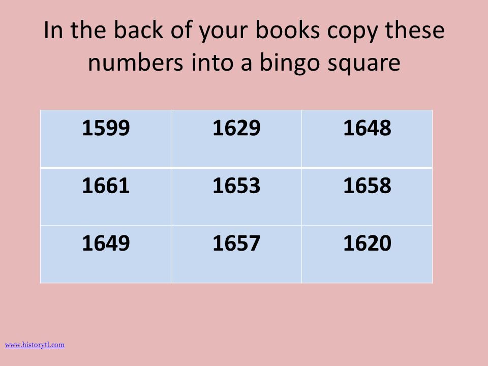 In the back of your books copy these numbers into a bingo square