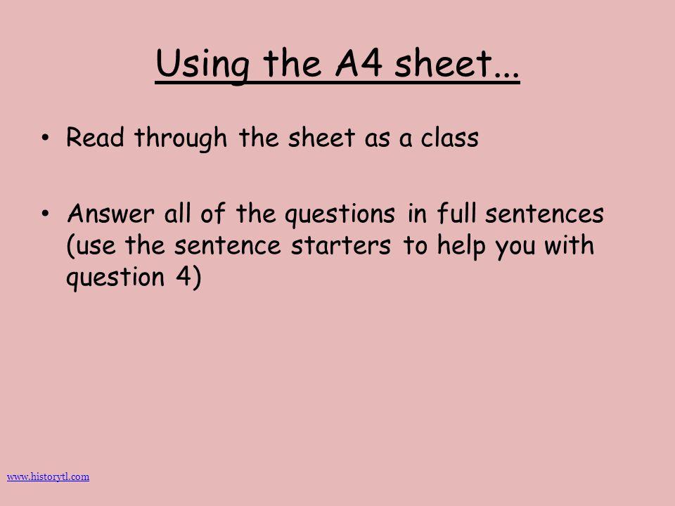 Using the A4 sheet... Read through the sheet as a class