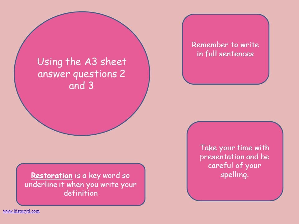 Using the A3 sheet answer questions 2 and 3