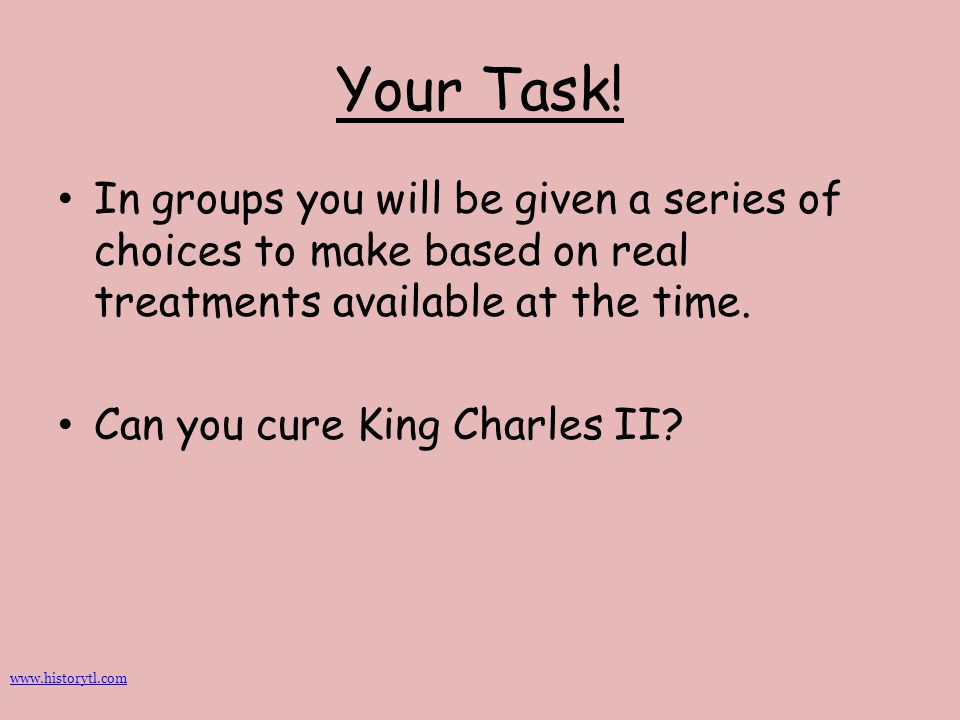 Your Task! In groups you will be given a series of choices to make based on real treatments available at the time.