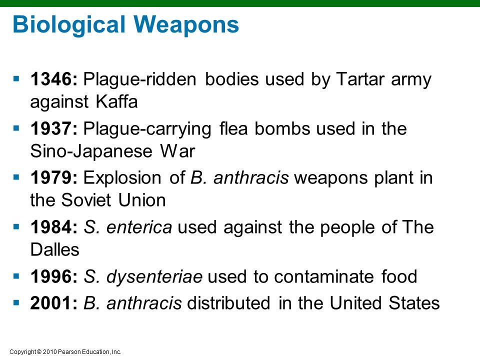 Biological Weapons 1346: Plague-ridden bodies used by Tartar army against Kaffa. 1937: Plague-carrying flea bombs used in the Sino-Japanese War.