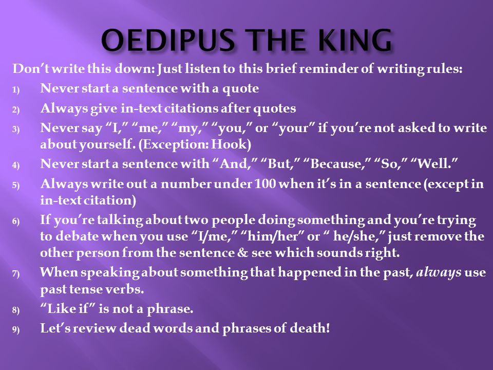 oedipus thesis statement Download thesis statement on oedipus' downfall in our database or order an original thesis paper that will be written by one of our staff writers and delivered according to the deadline.