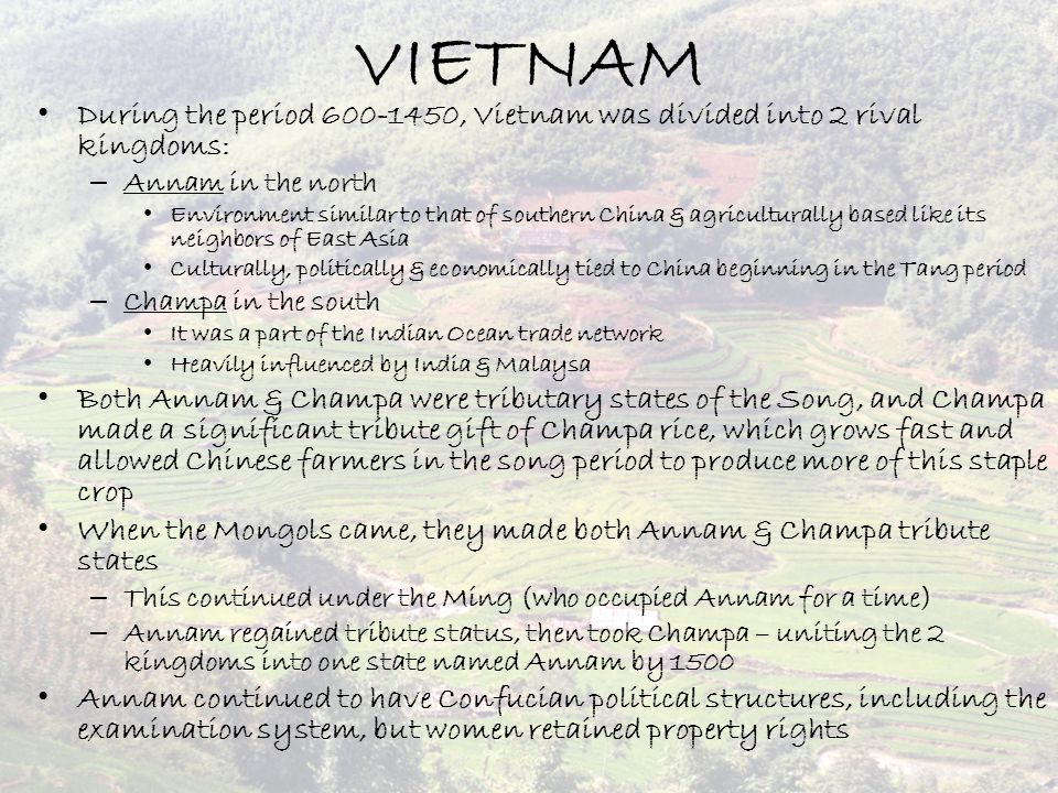 VIETNAM During the period 600-1450, Vietnam was divided into 2 rival kingdoms: Annam in the north.