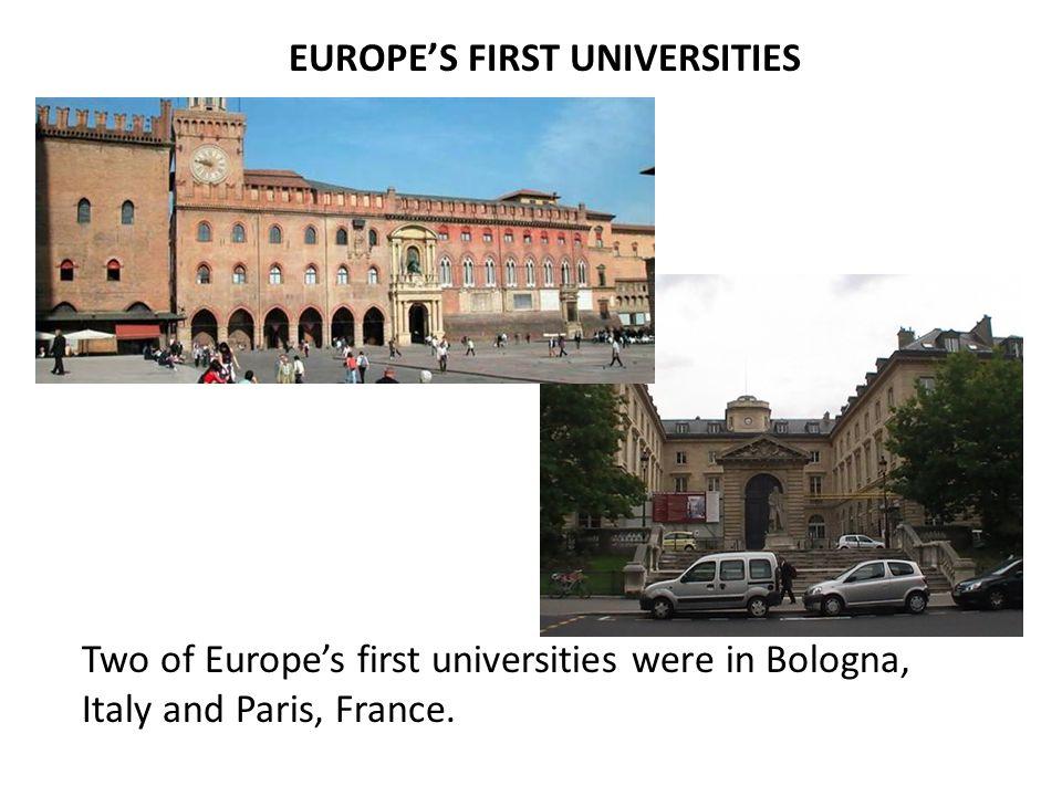 EUROPE'S FIRST UNIVERSITIES