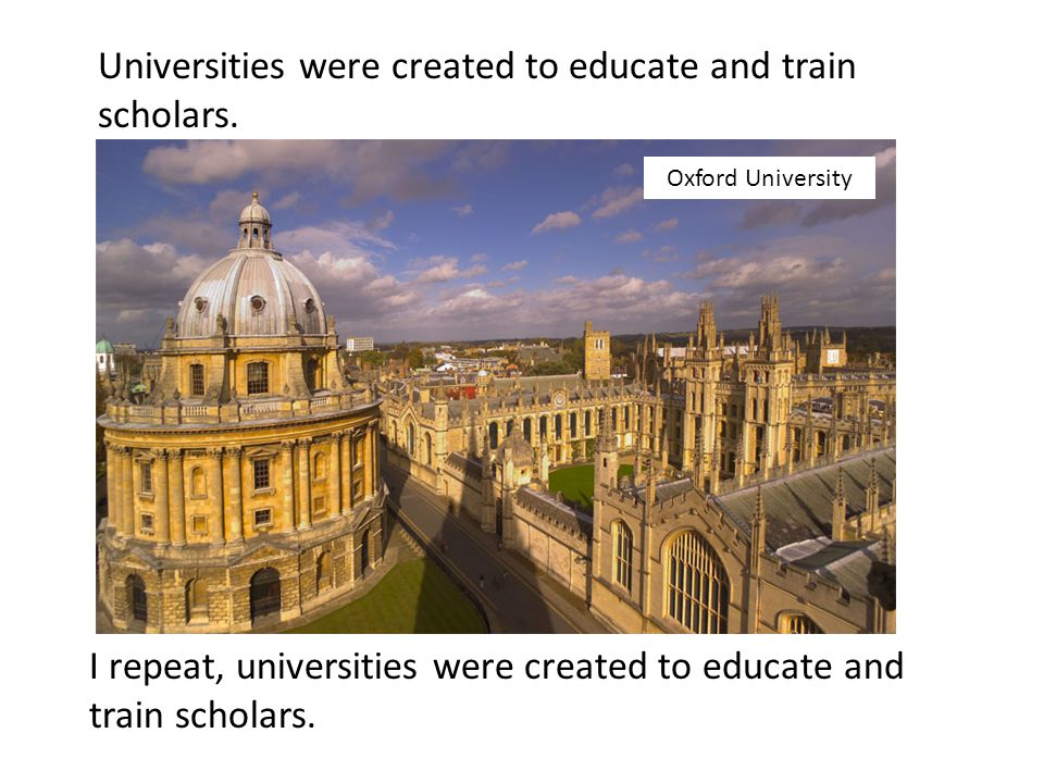 Universities were created to educate and train scholars.