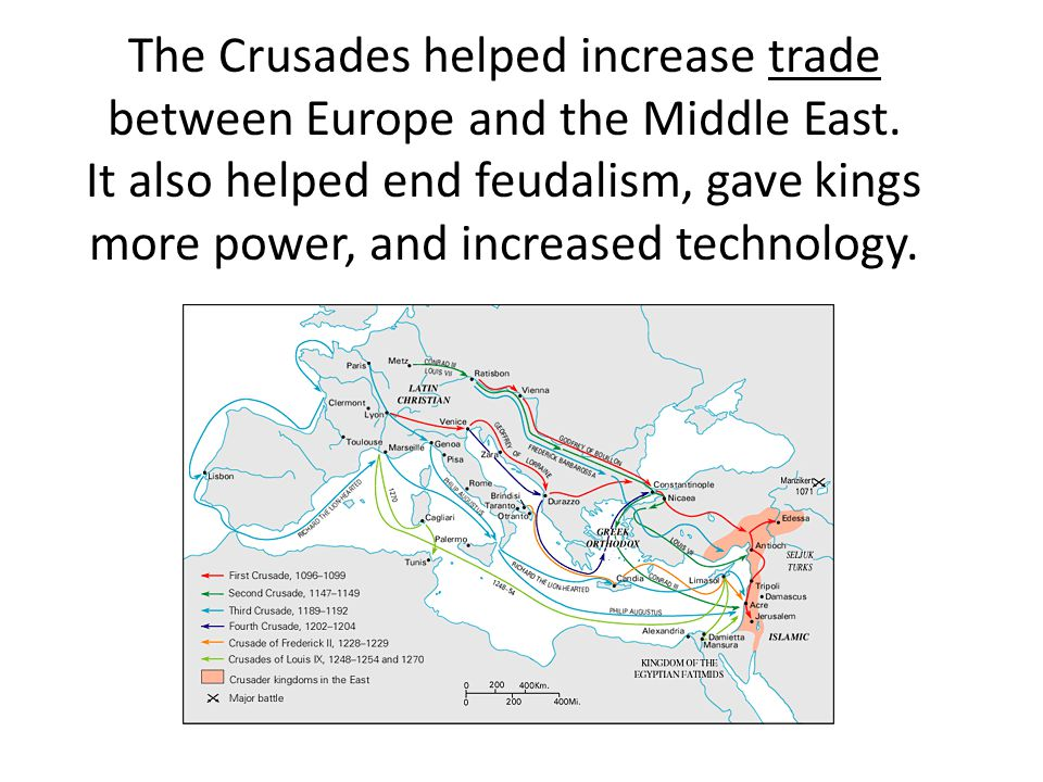 The Crusades helped increase trade between Europe and the Middle East.