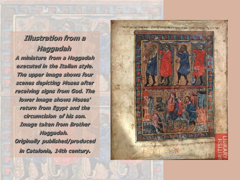 Illustration from a Haggadah A miniature from a Haggadah executed in the Italian style. The upper image shows four scenes depicting Moses after receiving signs from God. The lower image shows Moses return from Egypt and the circumcision of his son.