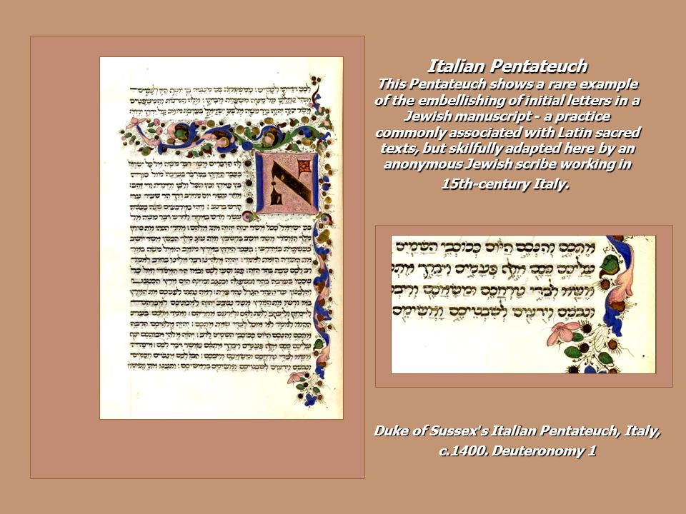 Duke of Sussex's Italian Pentateuch, Italy, c.1400. Deuteronomy 1