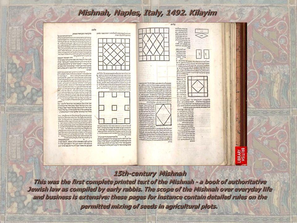 Mishnah, Naples, Italy, 1492. Kilayim