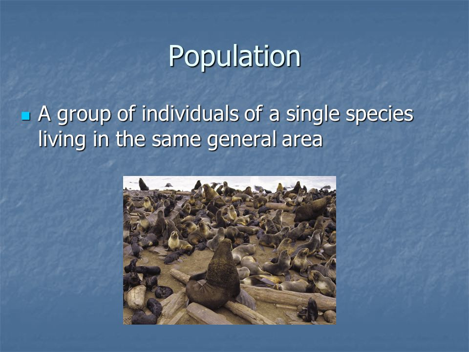 Population A group of individuals of a single species living in the same general area
