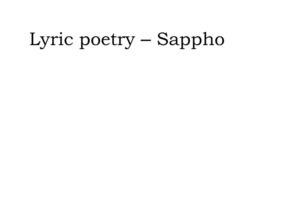 Lyric poetry – Sappho