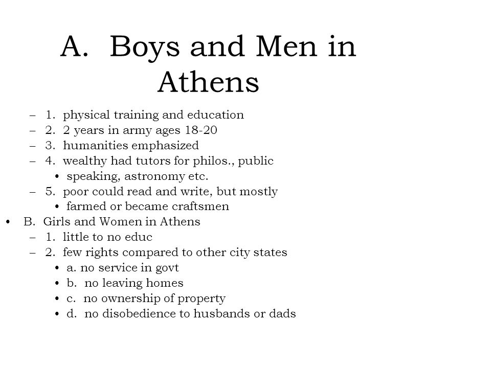 A. Boys and Men in Athens 1. physical training and education