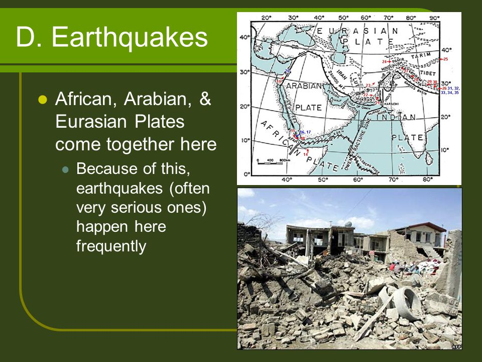 D. Earthquakes African, Arabian, & Eurasian Plates come together here
