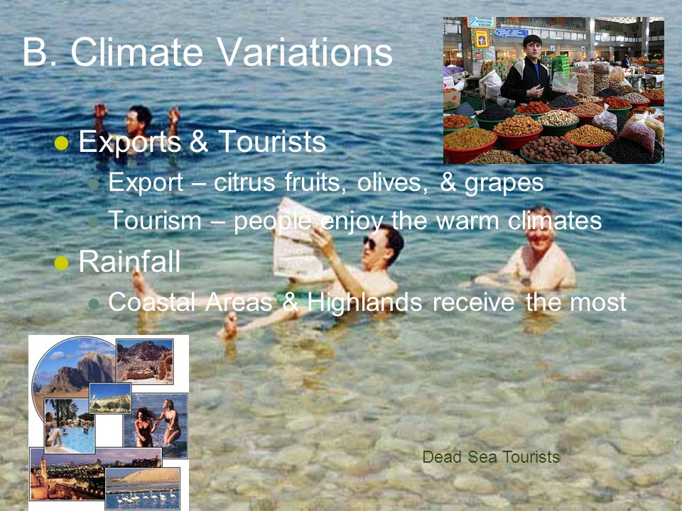 B. Climate Variations Exports & Tourists Rainfall