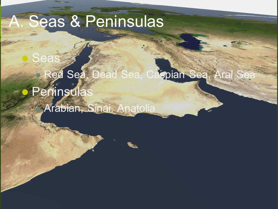 A. Seas & Peninsulas Seas Peninsulas