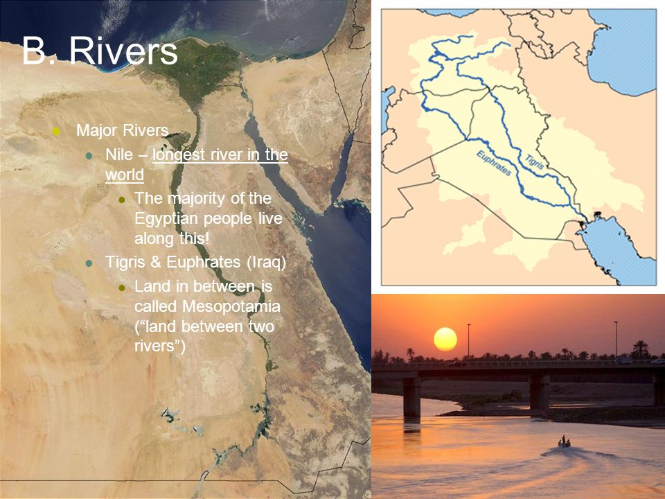 B. Rivers Major Rivers Nile – longest river in the world