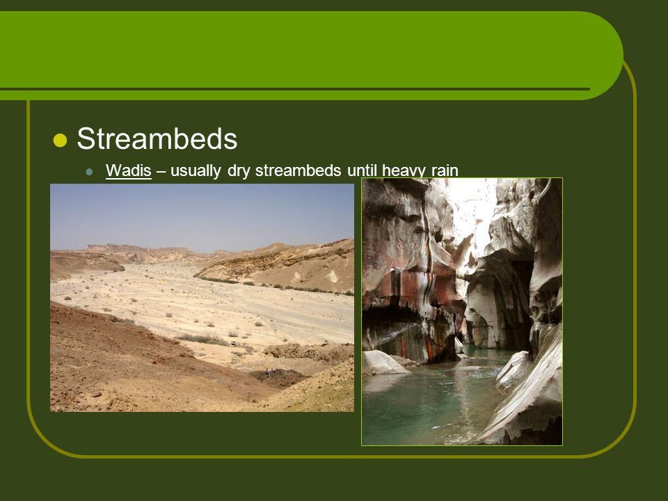 Streambeds Wadis – usually dry streambeds until heavy rain