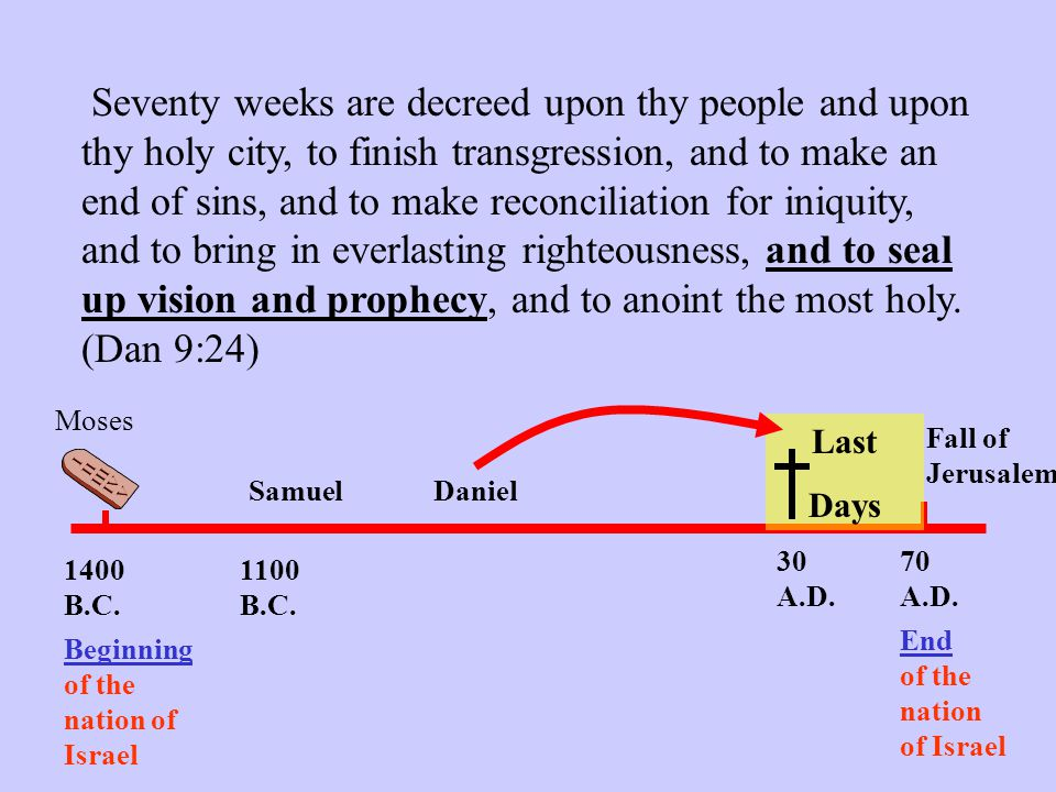 Seventy weeks are decreed upon thy people and upon thy holy city, to finish transgression, and to make an end of sins, and to make reconciliation for iniquity, and to bring in everlasting righteousness, and to seal up vision and prophecy, and to anoint the most holy. (Dan 9:24)