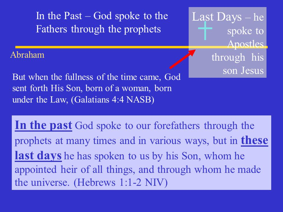 Last Days – he spoke to Apostles through his son Jesus